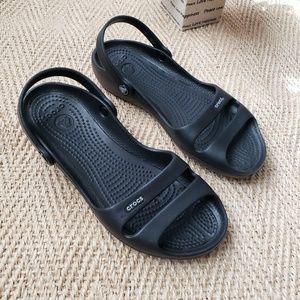 Black crocs slip-on sandals
